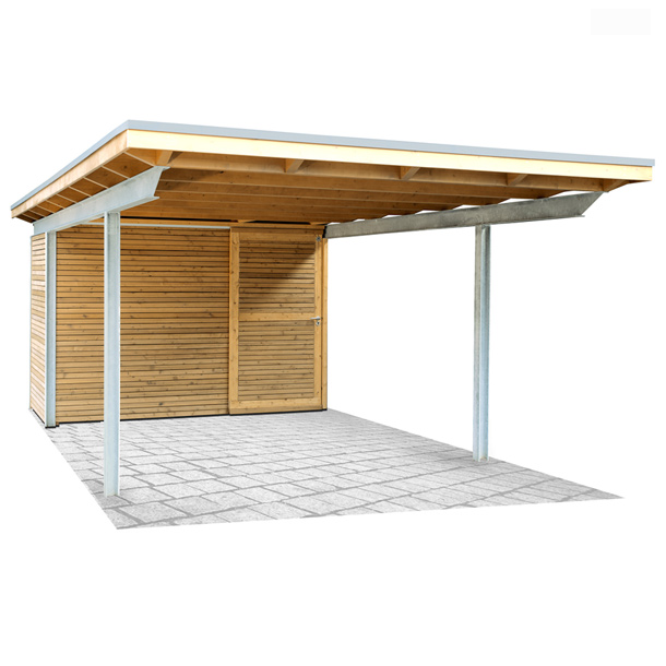 stahlcarport mit holz kwp caports. Black Bedroom Furniture Sets. Home Design Ideas